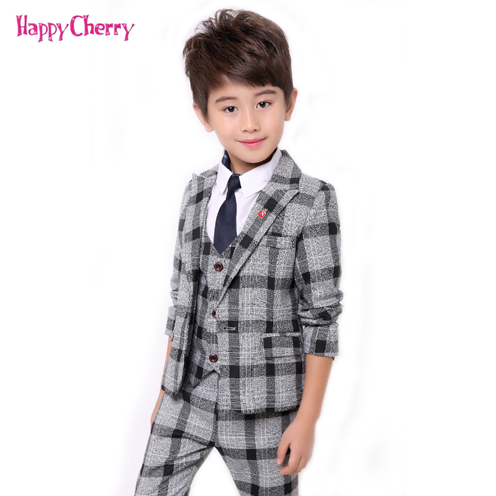 2018 Boys Formal Suits Fashion Kids Plaid Wedding Blazer Vest Pants Suit Autumn Winter Toddler Boys Gentleman Prom Party Costume winter children boys formal sets 5 pcs woolen blend coat pants vest shirt tie costume wedding birthday party gentleman boy suit