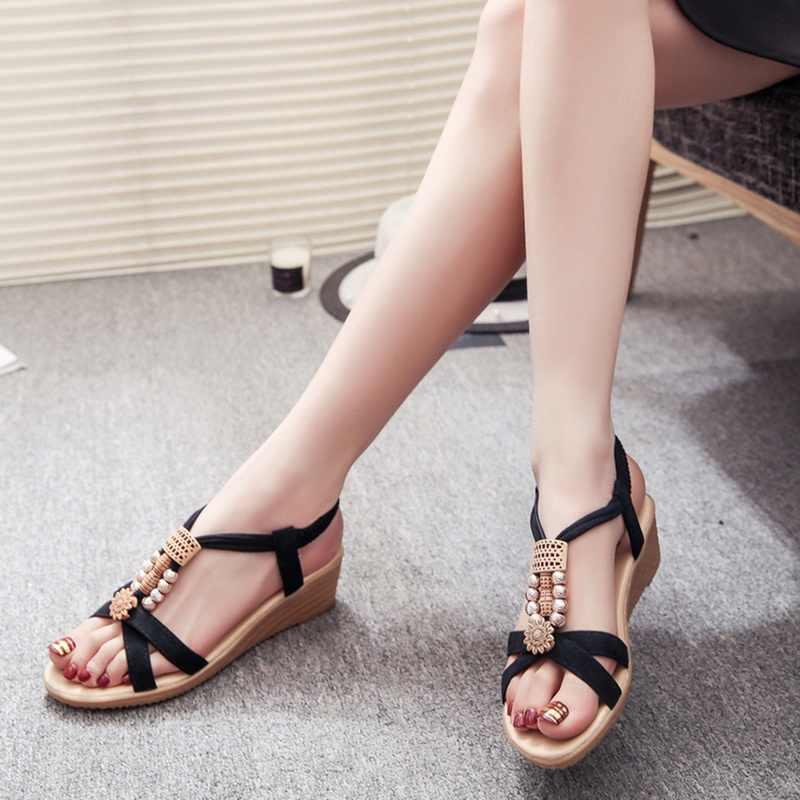 SHUJIN แฟชั่นฤดูร้อน Bohemian ผู้หญิงรองเท้าแตะรองเท้าแตะชายหาดรองเท้าสบายๆหญิงลูกปัดเปิดโรมันแบนต่ำรองเท้า sandalias