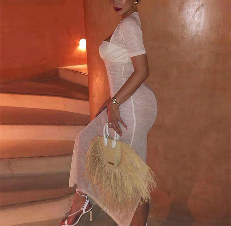 Сексуальное прозрачное шифоновое длинное платье женское повседневное белое с коротким рукавом пляжный накидки прозрачное облегающее платье макси Vestidos