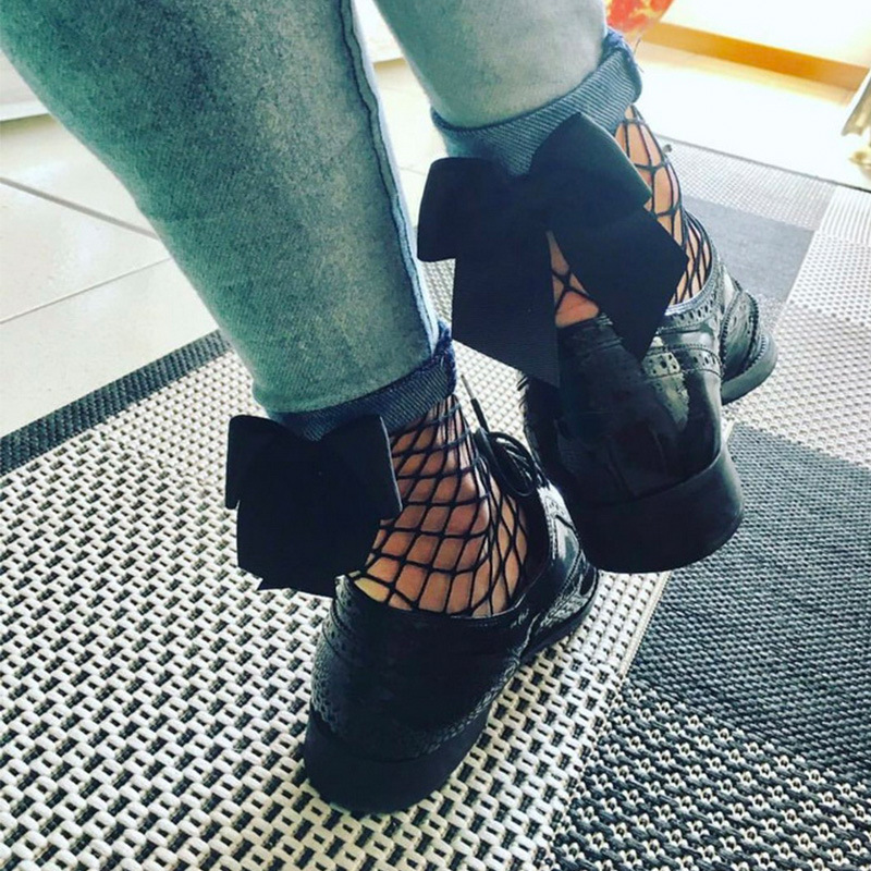 Streetwear Women's Harajuku Black Breathable Bow Knot Fishnet Socks.Sexy Hollow Out Mesh Nets Socks Ladies Girl 1pair=2pcs WS101