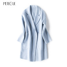 Turn-down Collar Cocoon-type Long Women's Double-side Wool Coat Single Breasted Wide-waisted Autumn Winter Coats Ladies 2017