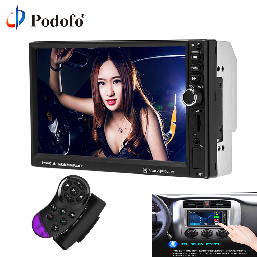 Podofo 2 Din Universal Car Multimedia Player Bluetooth Touch 7 Car Stereo MP4 MP5 Player USB FM Audio Radio Rear View Camera 7 inch touch screen 2 din car multimedia radio bluetooth mp4 mp5 video usb sd mp3 auto player autoradio with rear view camera