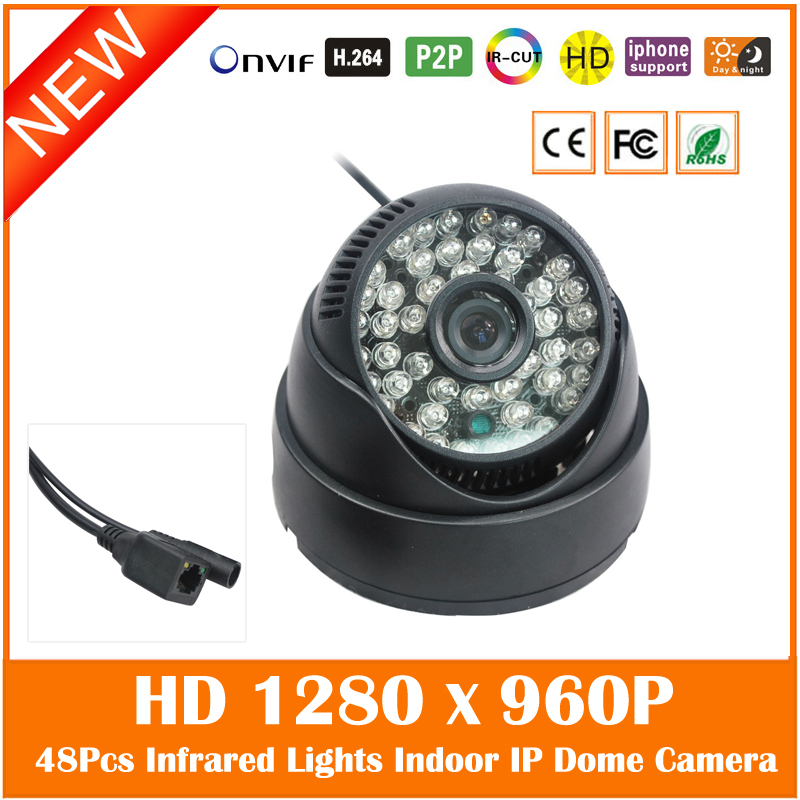 Hd 960p Ip Dome Camera 48pcs Infrared Light Onvif Ir Cut Filter Home Security Surveillance Mini Webcam Freeshipping Hot Sale smar home security 1000tvl surveillance camera 36 ir infrared leds with 3 6mm wide lens built in ir cut filter
