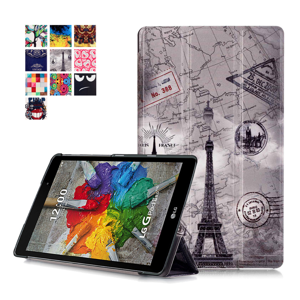 Painting Stand Pu Leather Case Cover for LG Gpad G Pad 3 8.0 V522 V525 2016 New Tablet Skin Cases for LG Pad 3 8.0 Tablet Cover