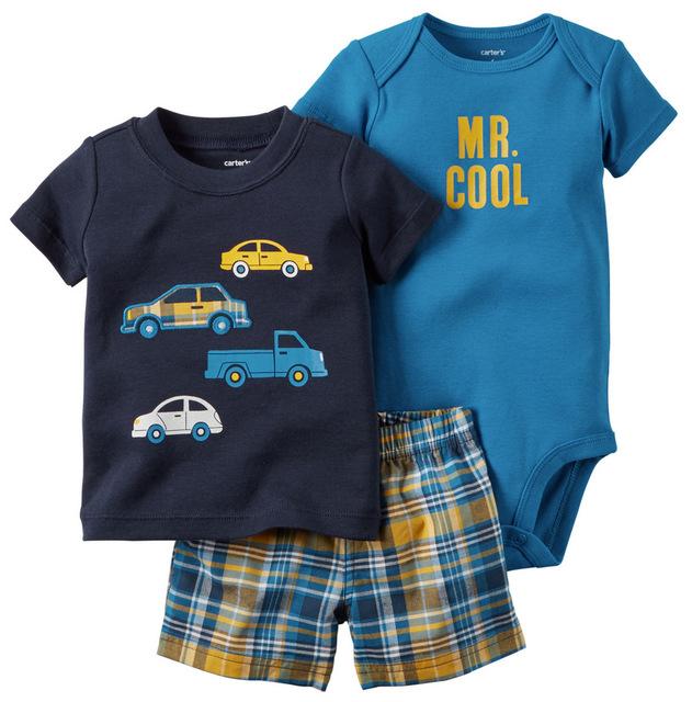 Nuevo 2017 Retail Niños Conjunto Cottom Camiseta traje de los muchachos de Impresión de la Historieta de la manera fija la camiseta + pantalón 3 unids niños Ropa de Verano