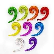 50pcs Rainbow Candy Colors Spiral Wave Curve Foil Balloons Family Birthday Wedding Party Wall Decoration child Inflatable Toys