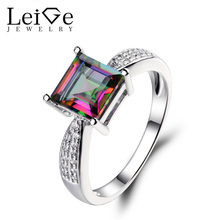 Leige Jewelry Mystic Topaz Ring Square Cut Wedding Engagement Sterling Sliver Rings for Woman November Birthstone Rainbow Topaz