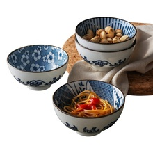 Japanese style creative kitchen cutlery blue and white pattern 4.5 inch ceramic rice bowl  gravy