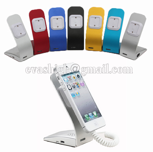 10xSimple metal cell phone security display alarm stand with charging fuction for mobile phone anti-theft holder retail store wholesale price mobile phone anti theft alarm display stand with charging for exhibition