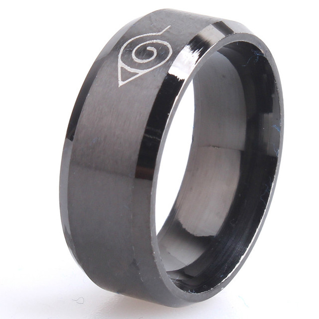 drop ship ok anti allergy 2017 New width 8mm men Naruto rings stainless steel cl