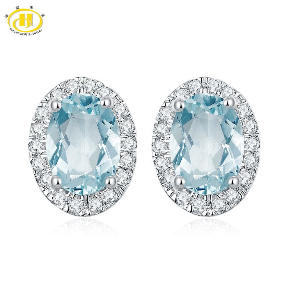 Hutang Stone Stud Earrings 1 5ct Natural Aquamarine Halo Solid 925 Sterling Silver Gemstone Fine Jewelry