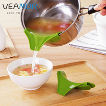 VEAMOR 1pc Home Anti – Spill Kitchenware Pot Edge Deflector Gadget Curved Design Kitchenware Silicone Funnel B1100