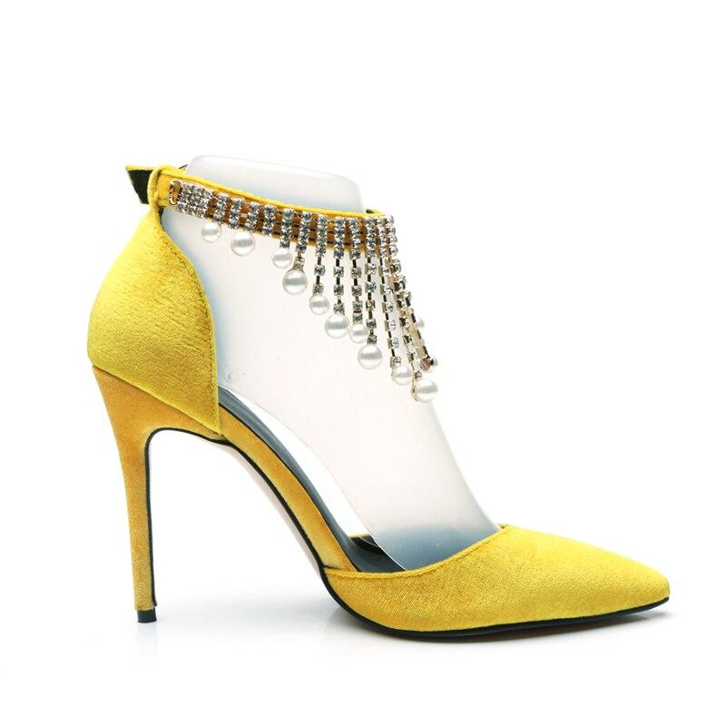 Terciopelo Hebilla Cristal Zapatos Las Amarillo Silla De 2018 Gobernantes Perlas Mujeres Correa Nuevas Cadena La Tacón Bombas Alto Sexy Yellow Punta Señoras wwYTqOAx