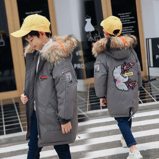 Зимняя куртка для мальчиков с меховым капюшоном, зимнее пальто для девочек в русском стиле, 2018 Детская куртка, парки на утином пуху, верхняя одежда, длинная подростковая одежда