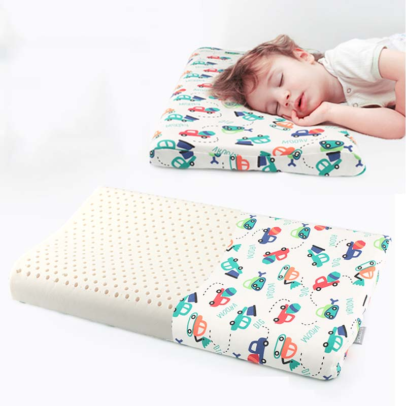 100% Latex Baby Bedding Sleeping Pillow Prevent Flat Orthopedic Children Kid Neck Shaping Memory Foam Pillow Factory 44*27*6cm