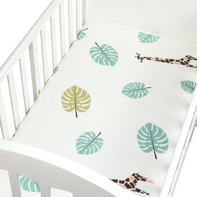 Baby Crib Fitted Sheet 100% Cotton Infant Bed Mattress Cover Baby Bedding Set Cartoon Toddler Girls Boys Bedding Size 130*70cm