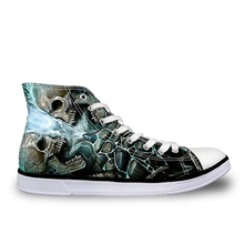 THIKIN 3D Custom Sneakers for Men Skull Print Canvas Shoes A