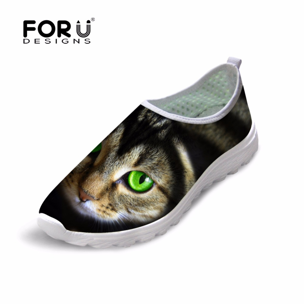 FORUDESIGNS Shoes Woman Cute Cat Pattern Women's Mesh Flats Shoes Casual Beach Light Shoes Summer Slip-on Breathable Footwear