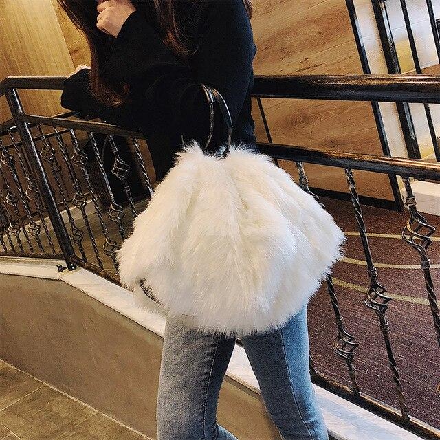 2018 новая зимняя меховая Ретро сумка женская сумка-мешок сумка через плечо плюшевая модная повседневная женская дизайнерская сумка для вечерние
