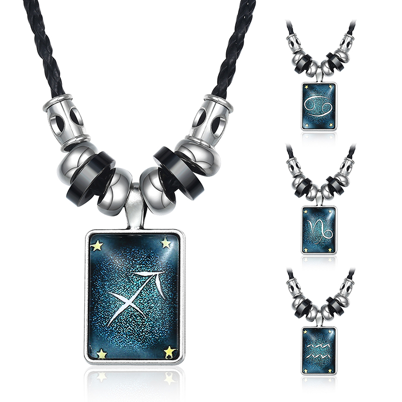 Zodiac Sign Leather Necklace Men/'s Astrology brown black Chain Surfer Horoscope