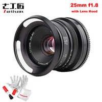 7artisans 25mm F1.8 Prime Lens for Sony E Mount for Fujifilm & Micro 4/3 Cameras A7 A7II A7R G1 G2 G3 X-A1 X-A10 with Lens Hood