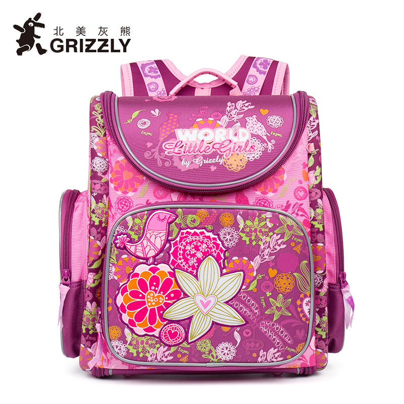 GRIZZLY New Kids Cartoon Primary Schoolbags for Children School Bags Waterproof Orthopedic Backpacks for Girls Grade 1-4 children spiderman school bags 2016 new cartoon spider man printing schoolbags kids backpack for girls