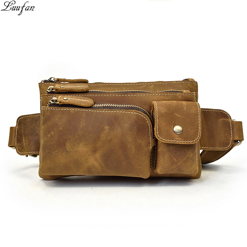 Men Genuine Leather Waist Pack Thick Cowhide Waist Bags Functional Leather Shoulder Bag 3 Layer Mini
