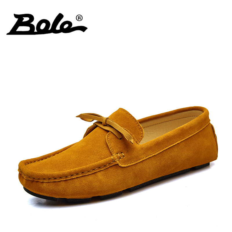 BOLE New Suede Leather Men Shoes Brand Fashion Summer Style Soft Moccasins Men Loafers Comfort Slip on Flats Shoes Men Footwear dxkzmcm new men flats cow genuine leather slip on casual shoes men loafers moccasins sapatos men oxfords