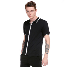Outer mold real shot men short sleeve lapel striped zippered POLO shirt
