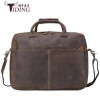 Мужские портфели из коровьей кожи 2017 человек модный бренд коричневые деловые повседневные винтажные сумки натуральная кожа мужские 16 сумк