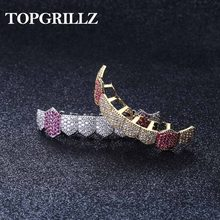 TOPGRILLZ Hip Hop Grills Gold Silver Color Iced Out Micro Pave Full CZ Teeth Grillz Bottom Grills Charm For Men Women Jewelry(China)