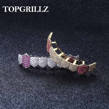 TOPGRILLZ Hip Hop Grills Gold Silver Color Iced Out Micro Pave Full CZ Teeth Grillz Bottom Charm For Men Women Jewelry