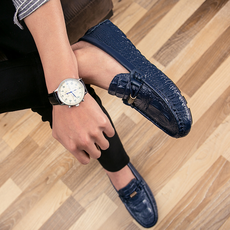 Preguiçosos Populares Sapatos Casuais Caupi Dos Estilo Black Padrão Masculinos Da Couro Do Moda Homens Britânico Pedal De Verão Crocodilo Um azul tX6qwf