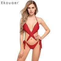 c1531685d8411 Ekouaer 2017 New Summer Halter Sexy Padded Backless Bandage One Piece  Swimsuit Women Beach Wear Bathing Suit Swimwear Monokini $0.0