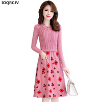 2018 New Fashion High Quality Women Dress Spring Autumn Long Sleeved Stitching Knit Pullover Sexy Dress