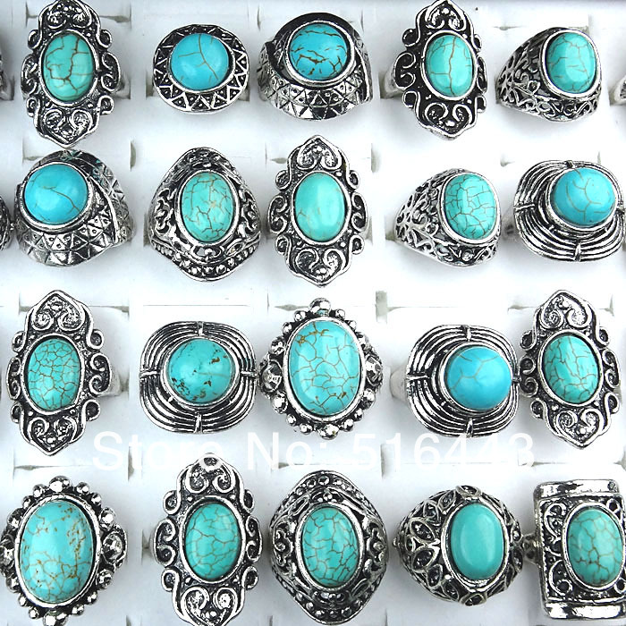 Fashion Jewelry Wholesale mix style 30pcs nature stone silver Plated Lady/'s Ring