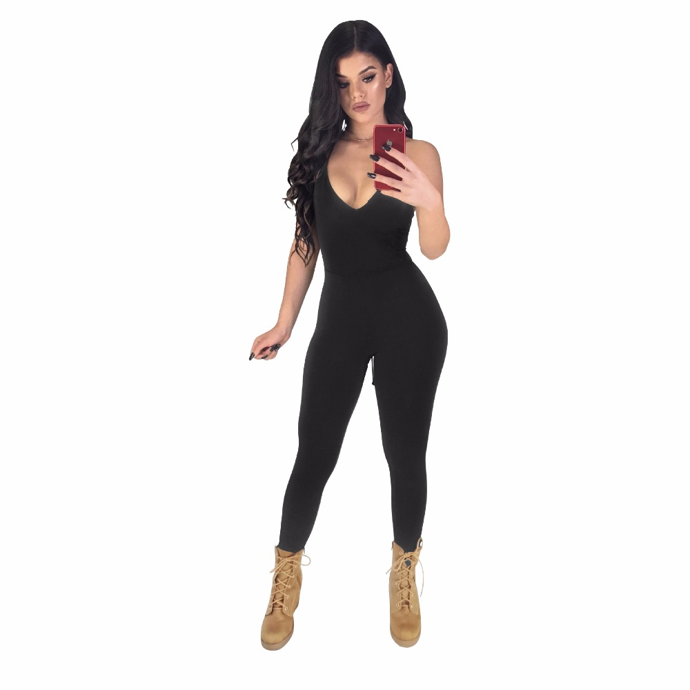 New Spring Deep V neck   Jumpsuit   2019 Women Sexy Backless Hollow Out Spaghetti Strap Skinny   Jumpsuits   Rompers Womens Bodysuits