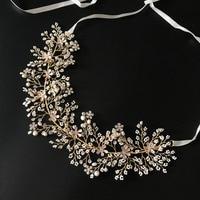 Pearls Branch Hair Vine Bridal Headpiece Handmade Floral Wedding Headband Romantic Crown For Brides Hair Jewelry Hotsale