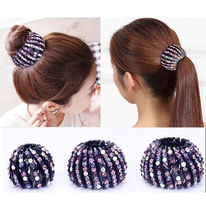 Crystal Rhinestones Hair Claw Bun Maker Donut Bird Nest Expanding Women's Hair Claw Hairpins Girls Hair Accessories   Headwear