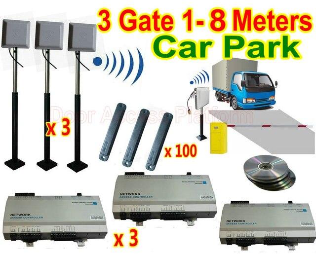 3 Gate of 1 8 meters Car Parking System full set UHF RFID 900MHz ...