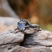 Best Selling Vintage Retro Tree Leaf Natural Moonstone Stone Ring Thai Silver Rings for Women Engagement Christmas Jewelry Gift