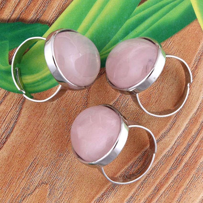 2 x Silver Plated Rose Quartz Stone Oval From Adjustable Finger Ring Jewelry