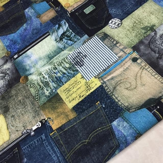1 meter Jeans Tasche Gedruckt Leinen Patchwork Stoff Nähen Material ...
