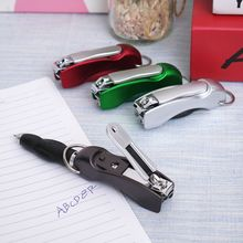 1Pc Creative Multifunction Folded Nail Clippers Ballpoint Pen Stationery Pen Home Beauty Tool