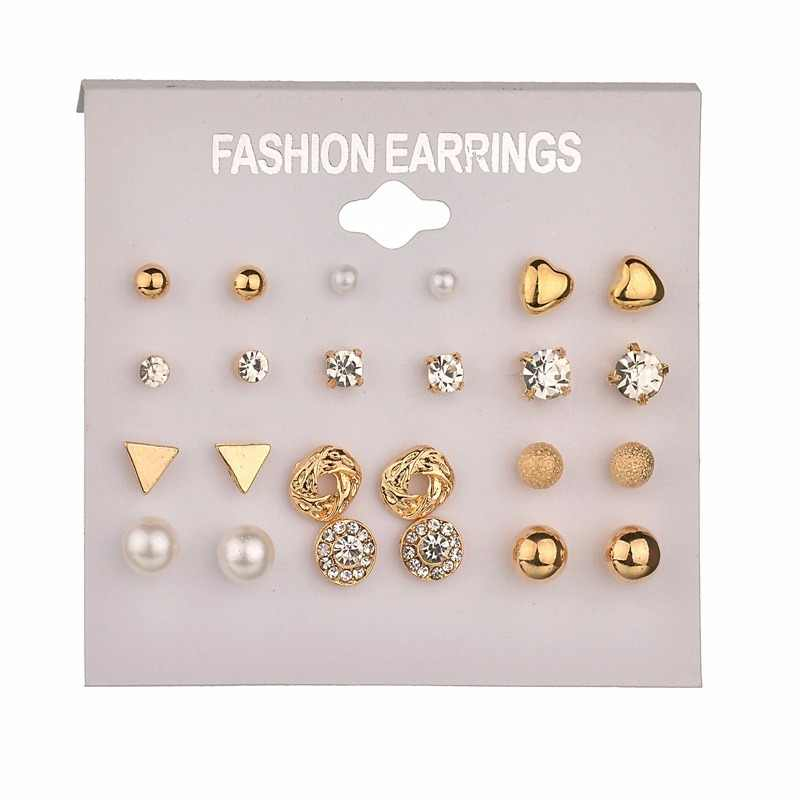 Fashion 26 Style Crystal Heart Flowers Moon Geometric Stud Earrings Set imitation Pearl Earrings for Women Wedding Bride Jewelry