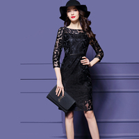 Olddnew Women's Vintage Lace Dress New Autumn & Winter Floral 3/4 Long Sleevees Lace Dress Cocktail Formal Swing Dress