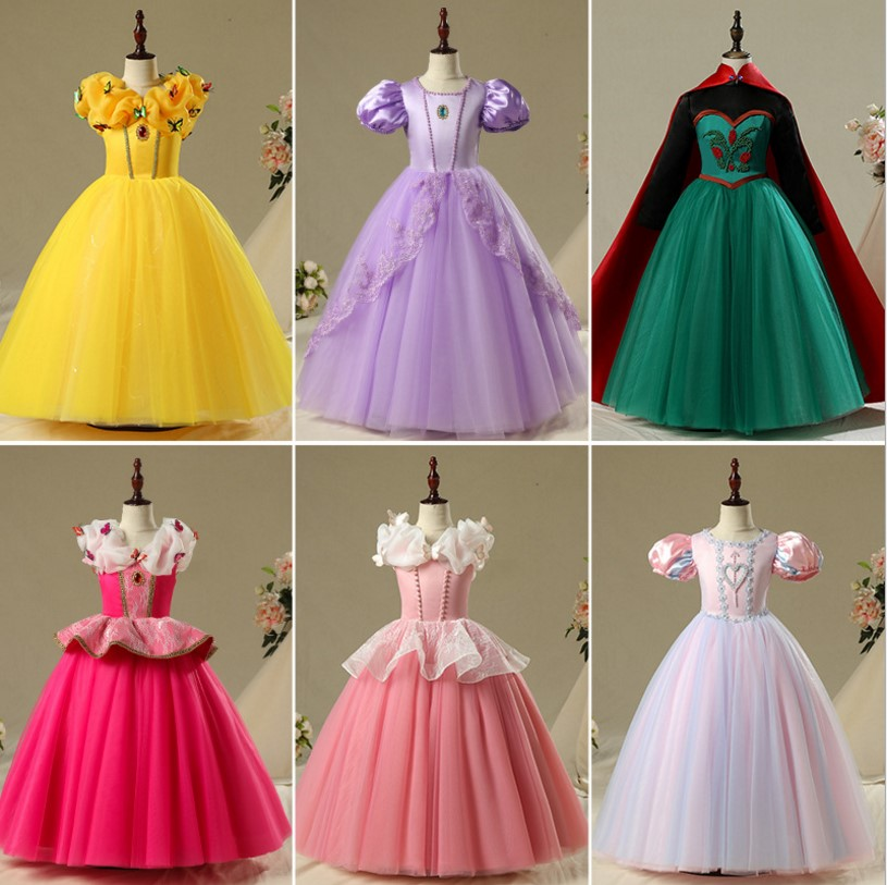 Fantaisie Halloween Costume enfants princesse Aurora Belle cendrillon Sofia raiponce robes fille robe de bal elsa robe de soirée vestido