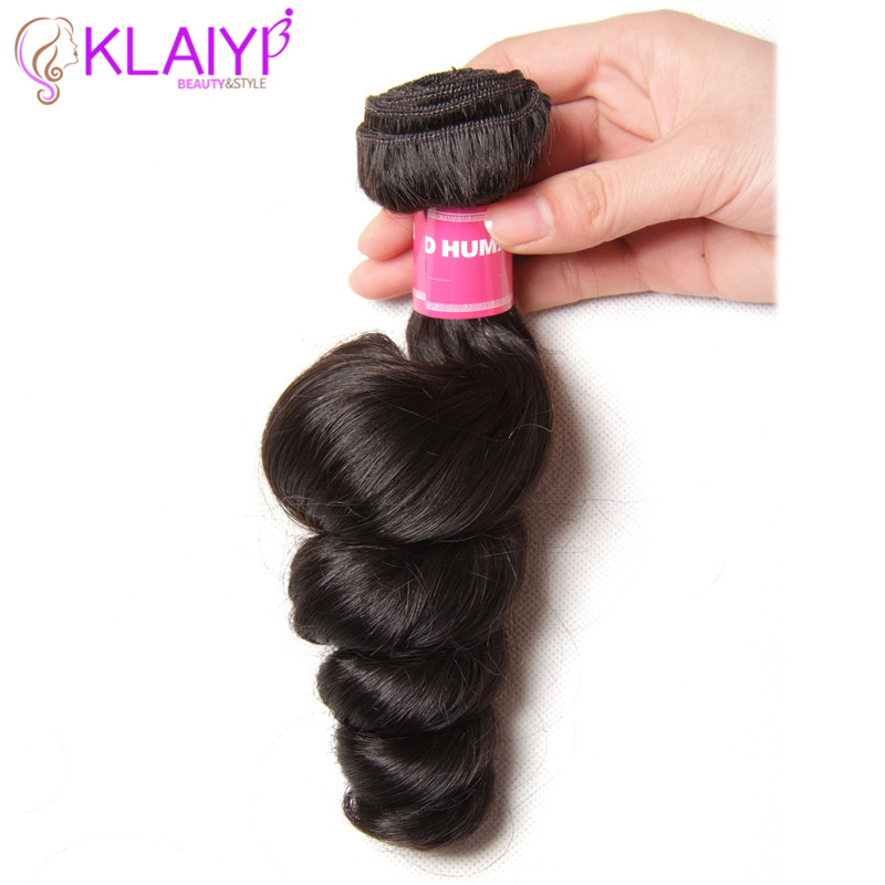 KLAIYI Loose Wave Remy Hair Bundles Human Hair Weaves Brazilian Hair 1 Pieces Only Full Cuticle Can Be Dyed Free Shipping