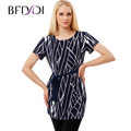 BFDADI Summer Women Long T-shirt 2017 Fashion Geometric patterns With belt Tee Shirt Casual Short Sleeve Plus Size 3687-27