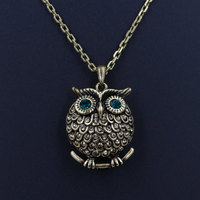 Retro Copper Antique Gold Plated Full Rhinestone Owl Necklace Ladies Vintage Animal Pendant Link Chain Collar